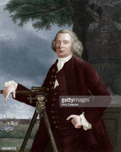 James Brindley 18th century English civil engineer and canal builder Brindley rests a hand on a theodolite and points to the aqueduct over the Irwell...