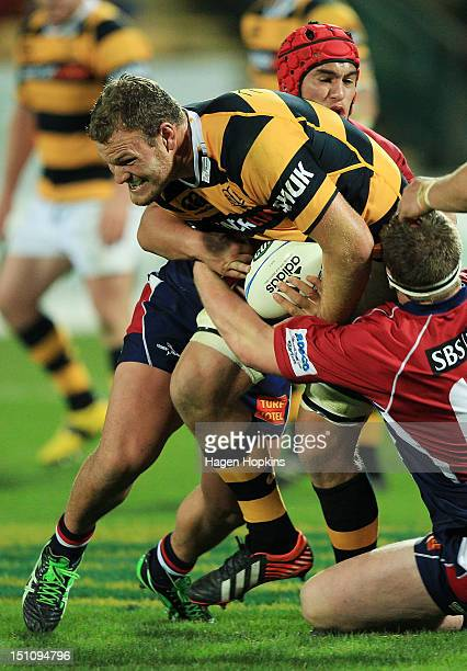 James Broadhurst of Taranaki is tackled during the round three ITM Cup match between Taranaki and Tasman at Yarrow Stadium on September 1 2012 in New...