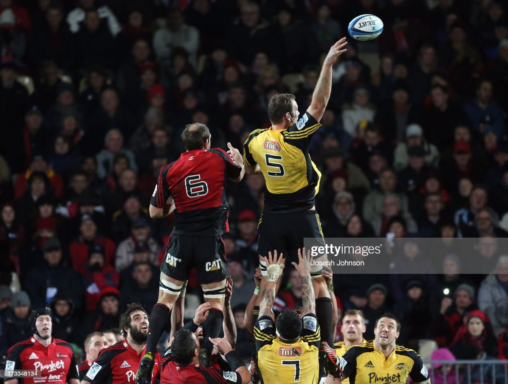 James Broadhurst of the Hurricanes wins a lineout over <a gi-track='captionPersonalityLinkClicked' href=/galleries/search?phrase=George+Whitelock&family=editorial&specificpeople=4532140 ng-click='$event.stopPropagation()'>George Whitelock</a> of the Crusaders wins a lineout during the round 20 Super Rugby match between the Crusaders and the Hurricanes at AMI Stadium on July 12, 2013 in Christchurch, New Zealand.