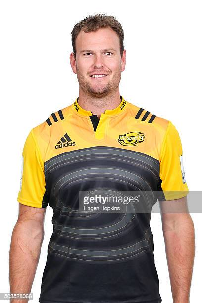James Broadhurst poses during the Wellington Hurricanes 2016 Super Rugby headshots session on January 6 2016 in Wellington New Zealand