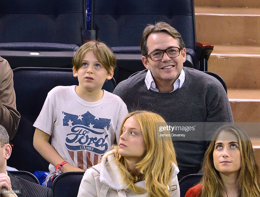 James Broderick and Matthew Broderick attend Buffalo Sabres vs New York Rangers game at Madison Square Garden on April 10, 2014 in New York City.