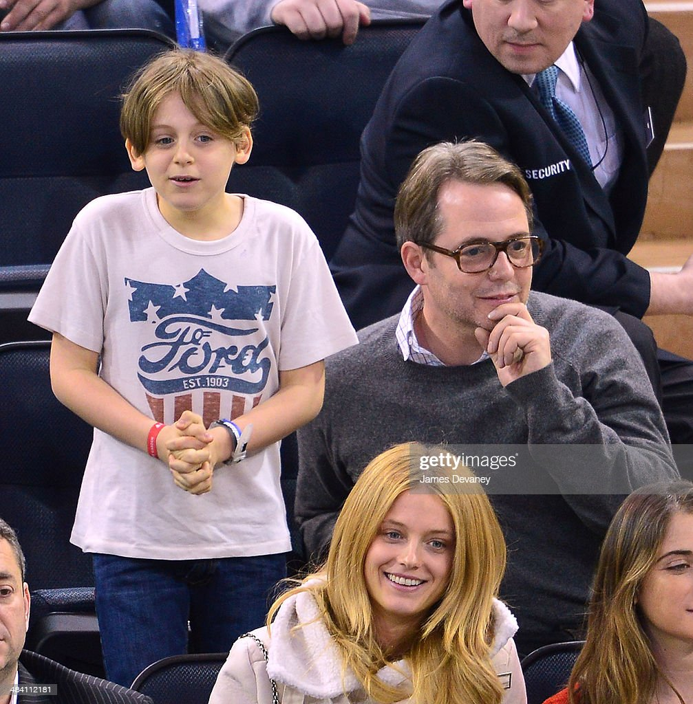 James Broderick and <a gi-track='captionPersonalityLinkClicked' href=/galleries/search?phrase=Matthew+Broderick&family=editorial&specificpeople=201912 ng-click='$event.stopPropagation()'>Matthew Broderick</a> attend Buffalo Sabres vs New York Rangers game at Madison Square Garden on April 10, 2014 in New York City.