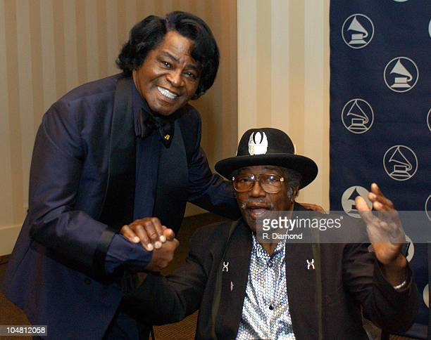 James Brown and Bo Diddley during The Recording Academy presents The 2003 Atlanta Heroes Awards at Westin Peachtree Plaza in Atlanta Georgia United...