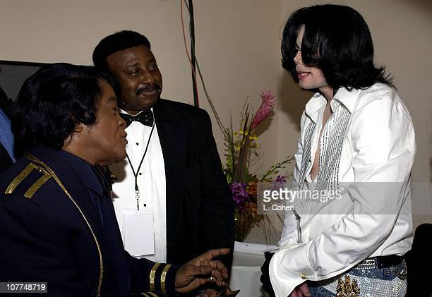 James Brown and Michael Jackson during The 3rd Annual BET Awards Backstage and Audience at The Kodak Theater in Hollywood California United States