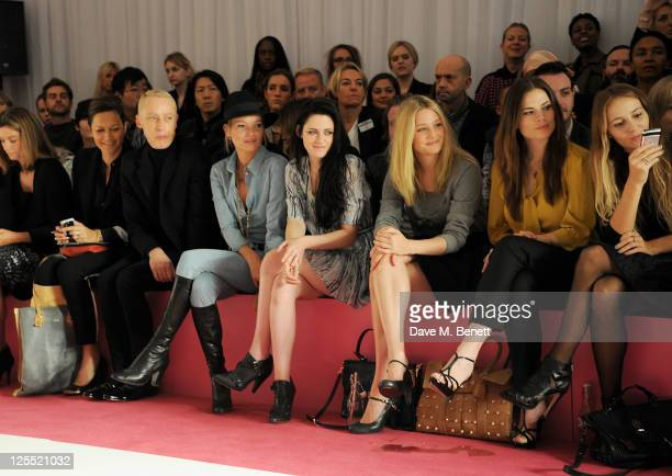 James Brown Kate Moss Kristen Stewart Romola Garai Hayley Atwell and Harley Viera Newton sit in the front row at the Mulberry Spring/Summer 2012...