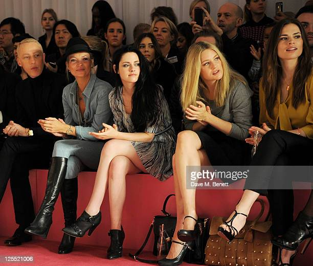 James Brown Kate Moss Kristen Stewart Romola Garai Hayley Atwell Harley Viera Newton and Laura Bailey sit in the front row at the Mulberry...
