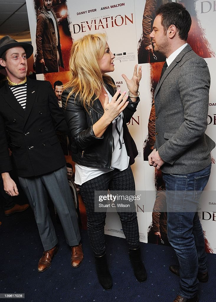 James Brown, Meg Matthews and Danny Dyer attend the Deviation World Premiere at Odeon Covent Garden on February 23, 2012 in London, England.