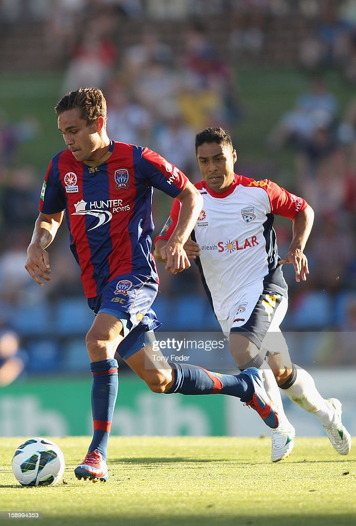 James Brown of the Jets in action during the round 15 A-League match between the Newcastle Jets and Adelaide United at Hunter Stadium on January 5, 2013 in Newcastle, Australia.