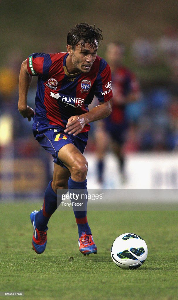 James Brown of the Jets in control of the Ball during the round 16 A-League match between the Newcastle Jets and the Brisbane Roar at Hunter Stadium on January 12, 2013 in Newcastle, Australia.
