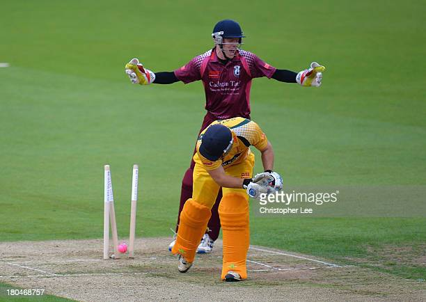 James Brown of Wimbledon celebrates the wicket of Jonny Cater of Banbury bowled by Mark Smith during the Semi Final match between Wimbledon and...