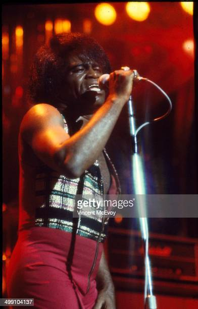 James Brown performs on stage at Hammersmith Odeon London 1977