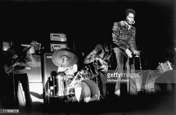 James Brown performs on stage at the Albert Hall London 11th March 1971