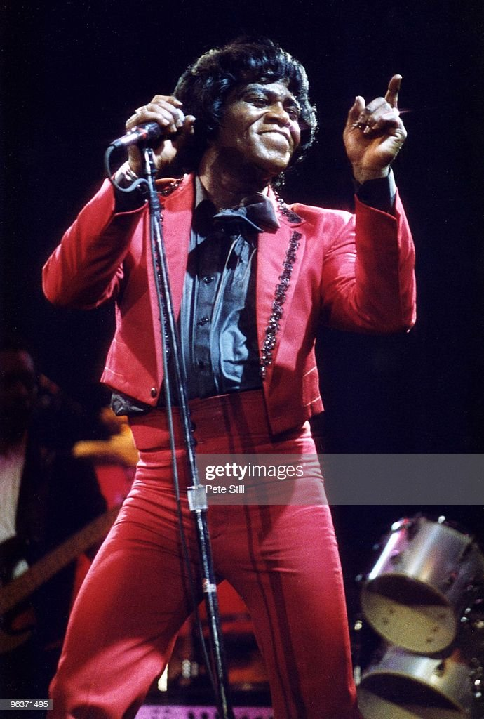 James Brown performs on stage at Wembley Arena on April 18th, 1986 in London, United Kingdom.