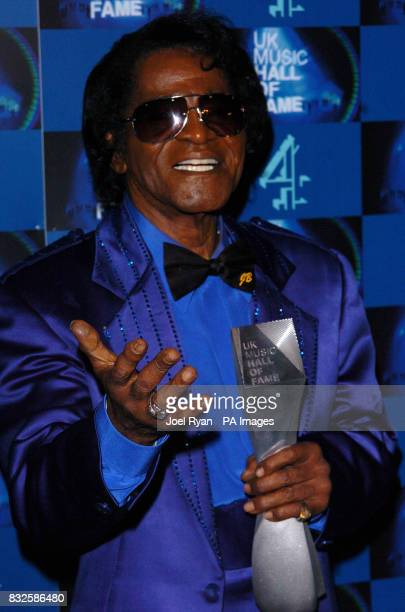James Brown with the UK Music Hall of Fame 2006 induction award in Alexandra Palace London