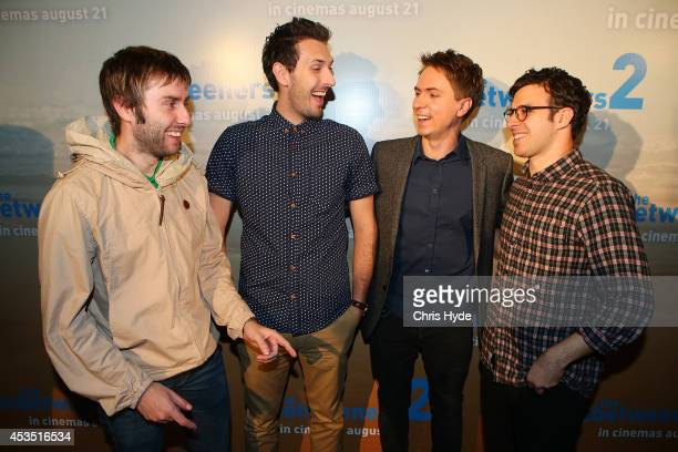 James Buckley Blake Harrison Joe Thomas and Simon Bird pose at the Queensland Premier of The Inbetweeners 2 at Event Cinemas Robina on August 12 2014...