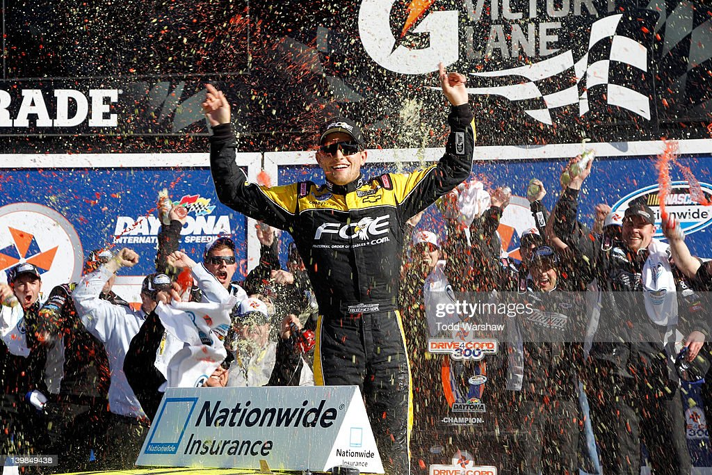 James Buescher, driver of the #30 Fraternal Order of Eagles Chevrolet, celebrates in Victory Lane after winning the NASCAR Nationwide Series DRIVE4COPD 300 at Daytona International Speedway on February 25, 2012 in Daytona Beach, Florida.