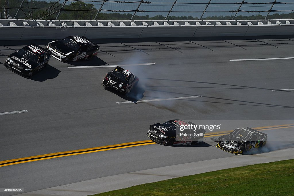 James Buescher driver of the Rheem Toyota Dylan Kwasniewski driver of the Rockstar Chevrolet and Darrell Wallace Jr driver of the Toyota Care Toyota...