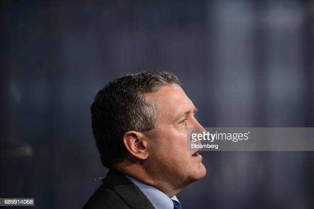 James Bullard president and chief executive officer at the Federal Reserve Bank of St Louis speaks during a Bloomberg Television interview in Tokyo...