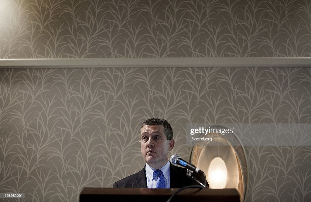James Bullard, president of the Federal Reserve Bank of St. Louis, speaks at the American Economic Association's annual meeting in San Diego, California, U.S., on Friday, Jan. 4, 2013. One day after the Federal Reserve put forth dates at which it might end $85 billion a month of bond purchases, Bullard described the economic conditions that may warrant a halt to the policy. Photographer: Sam Hodgson/Bloomberg via Getty Images