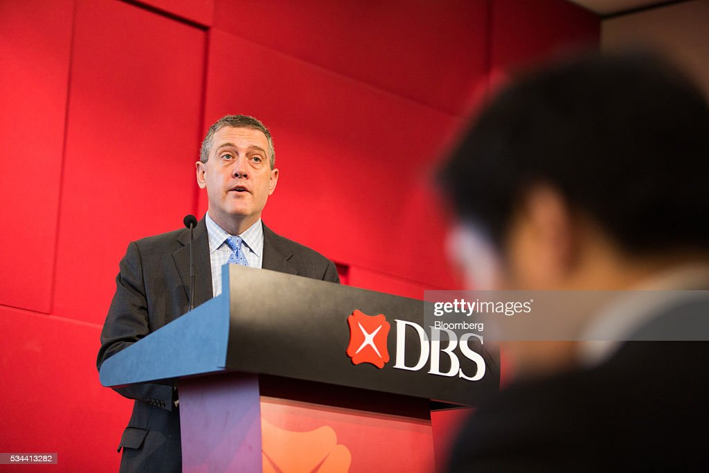 James Bullard, president of the Federal Reserve Bank of St. Louis, speaks during the Singapore City Lecture in Singapore, on Thursday, May 26, 2016. Bullard said on May 24 that he doesn't see the U.K.'s vote on European Union membership influencing the U.S. central bank's meeting that will be held the week before the referendum. Photographer: Nicky Loh/Bloomberg via Getty Images