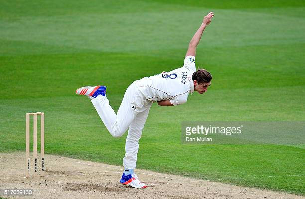 James Burke of Surrey bowls during day two of the preseason friendly between Surrey and Middlesex at The Kia Oval on March 23 2016 in London England
