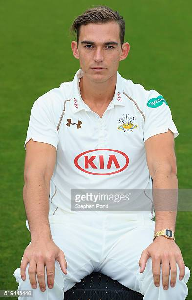 James Burke of Surrey during the Surrey County Cricket Club media day at The Kia Oval on April 6 2016 in London England
