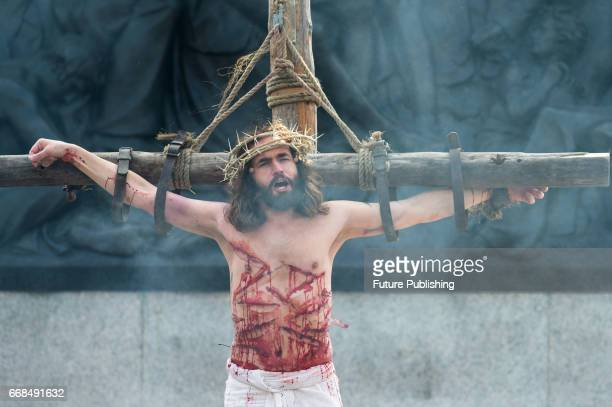 James BurkeDunsmore as Jesus on the cross during the annual play of The Passion of Jesus by Wintershall on The occasion of Good Friday on April 14...