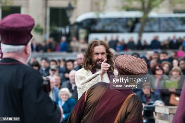 James BurkeDunsmore seen as Jesus arguing with the priests in the temple during the annual play of The Passion of Jesus by Wintershall on The...
