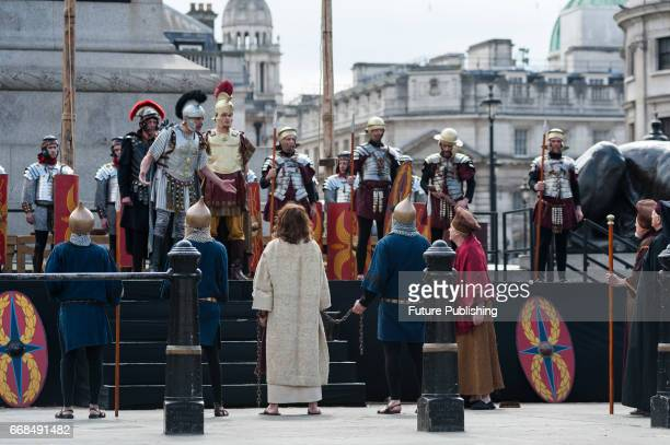 James BurkeDunsmore seen as Jesus being sentenced by Pontius Pilate the Roman Governor of Judea during the annual play of The Passion of Jesus by...