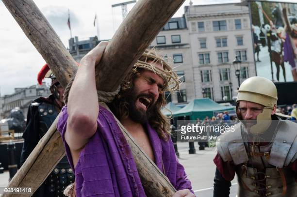 James BurkeDunsmore seen as Jesus carrying the cross during the annual play of The Passion of Jesus by Wintershall on The occasion of Good Friday on...