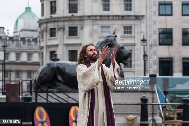 James BurkeDunsmore seen as Jesus praying in the Garden of Gethsemane during the annual play of The Passion of Jesus by Wintershall on The occasion...