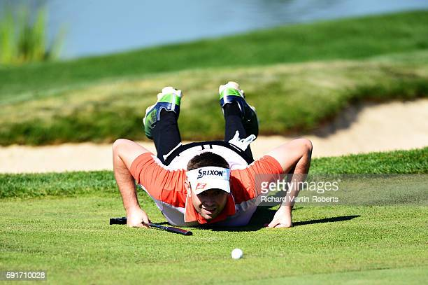 James Busby of England lines up a putt on the 9th green during day one of the DD REAL Czech Masters at Albatross Golf Resort on August 18 2016 in...