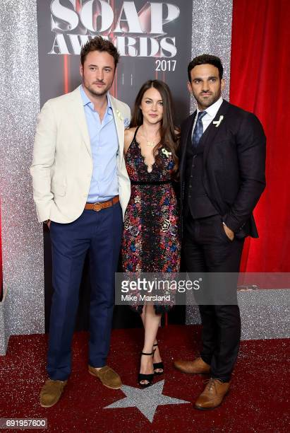 James Bye Lacey Turner and Davood Ghadami attend The British Soap Awards at The Lowry Theatre on June 3 2017 in Manchester England The British Soap...