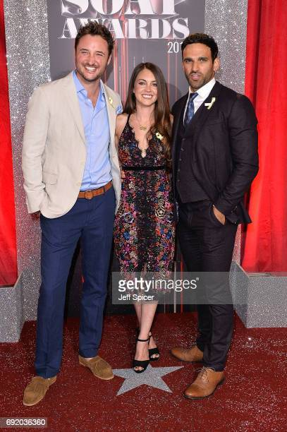 James Bye Lacey Turner and Davood Ghadami attend The British Soap Awards at The Lowry Theatre on June 3 2017 in Manchester England The Soap Awards...