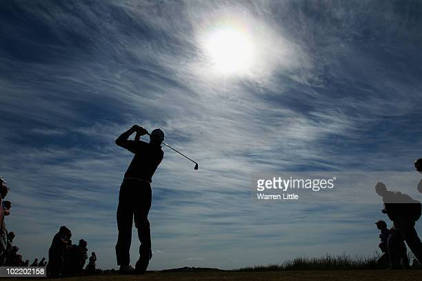 James Byrne of England tees off on the 12th hole during the semi final match against Chris Paisley for The Amateur Championship at Muirfield Golf...