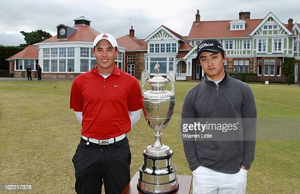 James Byrne of Scotland and Jin Jeong of Korea pose with the trophy ahead the final for The Amateur Championship at Muirfield Golf Club on June 18...