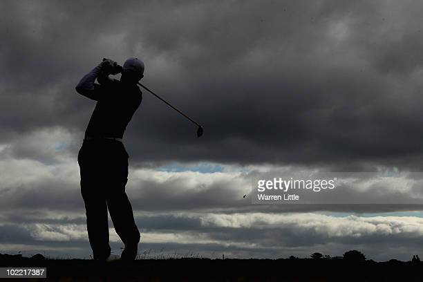 James Byrne of Scotland tees off on thethird hole during the final against Jin Jeong of Korea for The Amateur Championship at Muirfield Golf Club on...