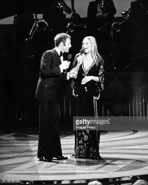 James Caan and Barbra Streisand performing on stage during 'From Funny Girl to Funny Lady' at the John F Kennedy Center for the Performing Arts in...