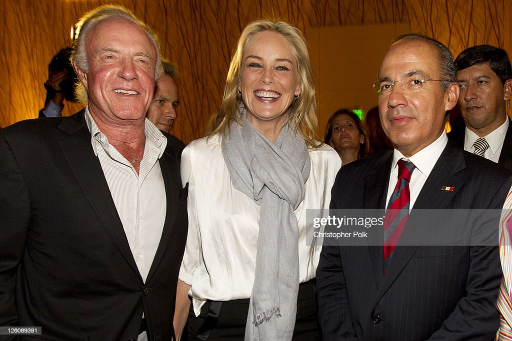LOS Angeles, California. CA - SEPTEMBER 21: (EXCLUSIVE COVERAGE) (L-R) James Caan, Sharon Stone and President of Mexico Felipe Calderon attend the Los Angeles premier of the forthcoming public television special, 'Mexico: The Royal Tour' at JW Marriott Los Angeles at L.A. LIVE on September 21, 2011 in Los Angeles, California.