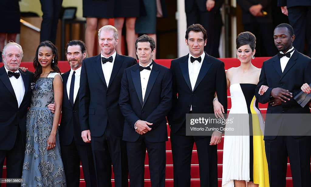 James Caan, Zoe Saldana, Billy Crudup, Noah Emmerich, Guillaume Canet, Clive Owen, Marion Cotillard, and Jamie Hector attend the 'Blood Ties' Premiere during the 66th Annual Cannes Film Festival at the Palais des Festivals on May 20, 2013 in Cannes, France.