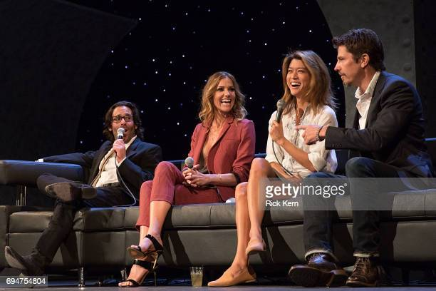 James Callis Tricia Helfer Grace Park and Michael Trucco attend the closing night reunion panel of Battlestar Galactica at the Paramount Theatre on...