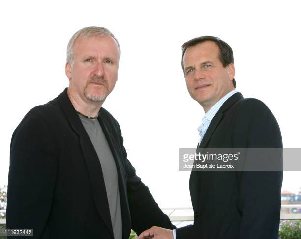 James Cameron and Bill Paxton during 2003 Cannes Film Festival 'Ghost of the Abyss' Photo Call at Palais des Festivals in Cannes France
