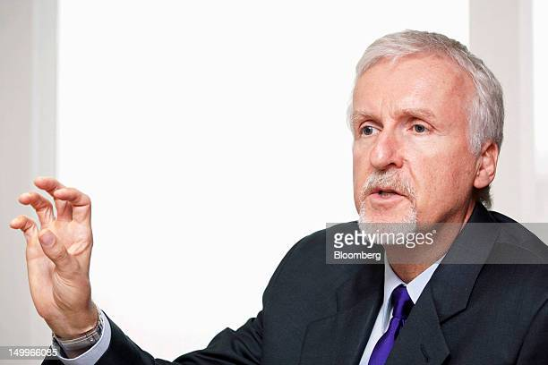 James Cameron film director and cochairman of Cameron Pace Group speaks during an interview in Beijing China on Wednesday Aug 8 2012 Cameron Pace...