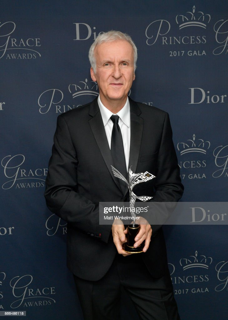 James Cameron poses with the the Prince Rainier III Award during the 2017 Princess Grace Awards Gala at The Beverly Hilton Hotel on October 25, 2017 in Beverly Hills, California.