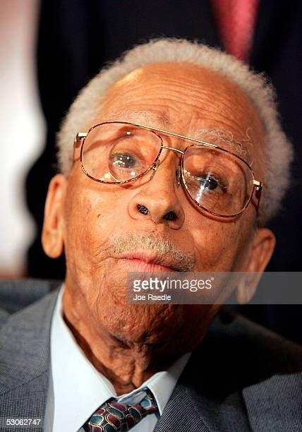 James Cameron the oldest living person to survive an attempt at a lynching speaks during a press conference held by Senate members who will pass a...