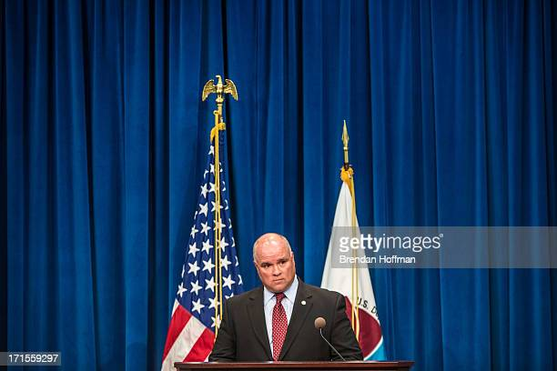 James Capra chief of operations for the Drug Enforcement Agency speaks at a news conference at DEA headquarters on June 26 2013 in Washington DC The...