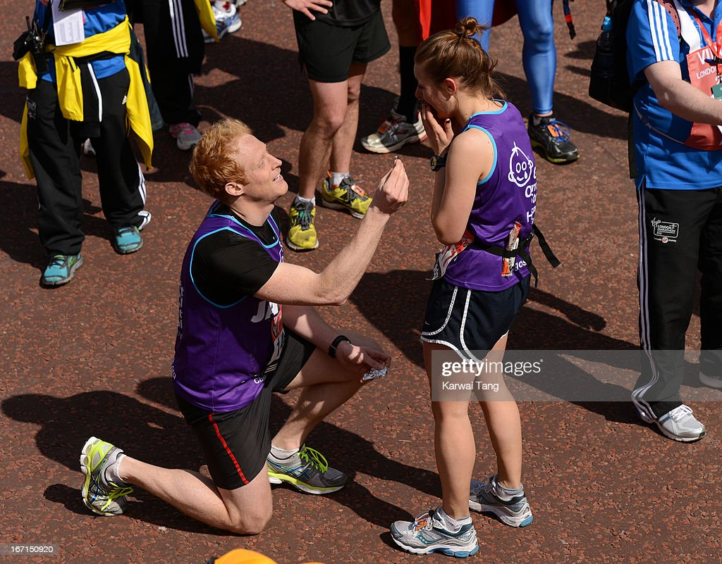 James Carvel proposes to girlfriend Lorraine Humphries after crossing the finish line of the Virgin London Marathon on April 21, 2013 in London, England.