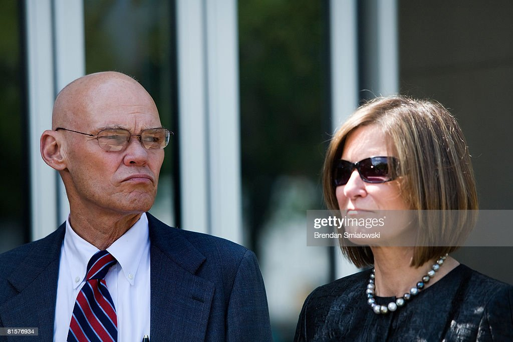 James Carville (L) and his wife Mary Matalin (R) speak to the press about Tim Russert outside NBC's bureau June 15, 2008 in Washington, DC. This week's Meet the Press show was a tribute to host Tim Russert who died at age 58 of a heart attack last week.