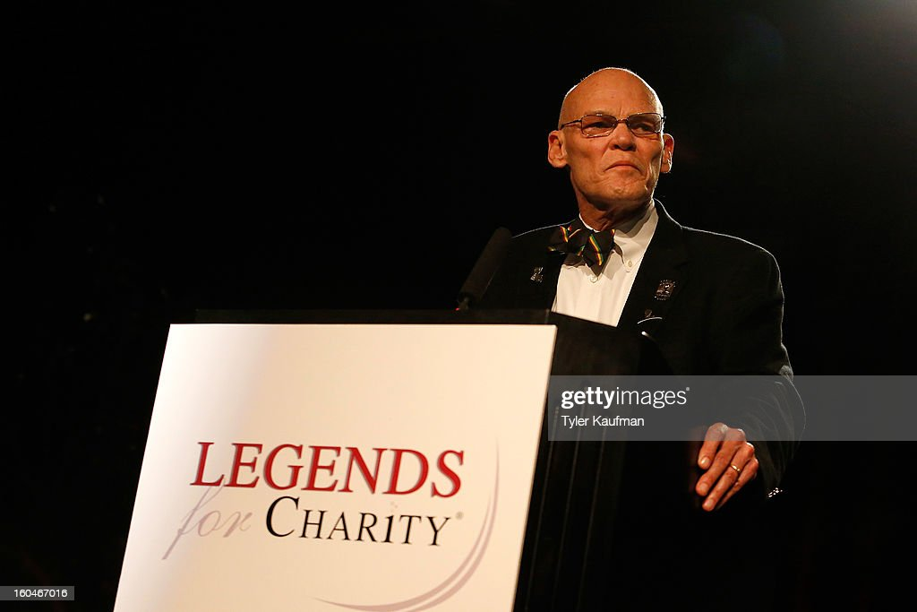 <a gi-track='captionPersonalityLinkClicked' href=/galleries/search?phrase=James+Carville&family=editorial&specificpeople=213580 ng-click='$event.stopPropagation()'>James Carville</a> attends the 2013 Legends For Charity Dinner Honoring Archie Manning at the Hyatt Regency New Orleans on January 31, 2013 in New Orleans, Louisiana.