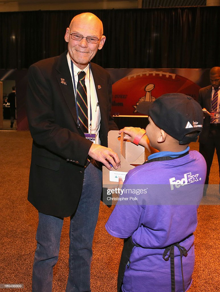 <a gi-track='captionPersonalityLinkClicked' href=/galleries/search?phrase=James+Carville&family=editorial&specificpeople=213580 ng-click='$event.stopPropagation()'>James Carville</a> attends the FedEx lemonade stand with Junior Achievement students in the Super Bowl XLVII Media Center, one of the most highly-trafficked venues of the Super Bowl city. The event celebrated the 10th season of the FedEx Air & Ground NFL Players of the Year awards and allowed the students to run their first business.
